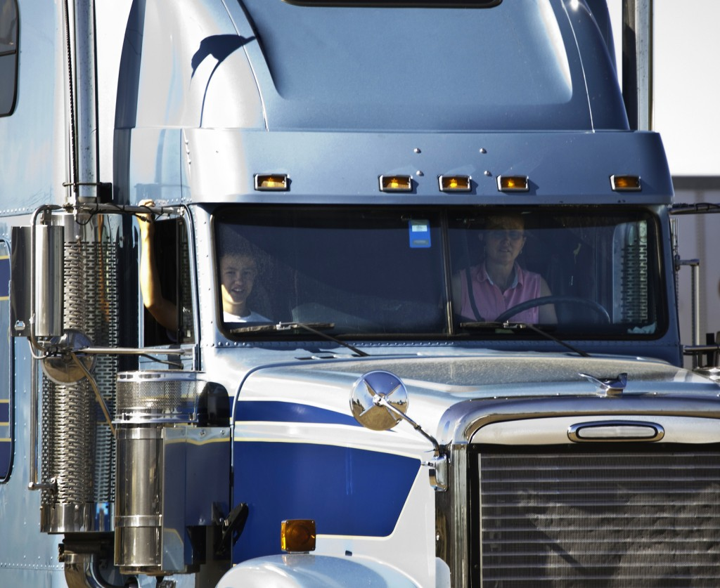 Woman Truck driver and her son