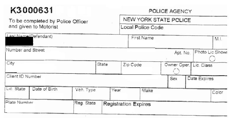 Top of New York Speeding Ticket