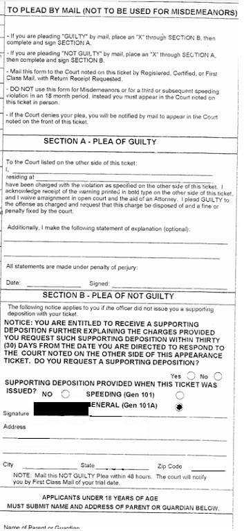 Back of NY Speeding Ticket