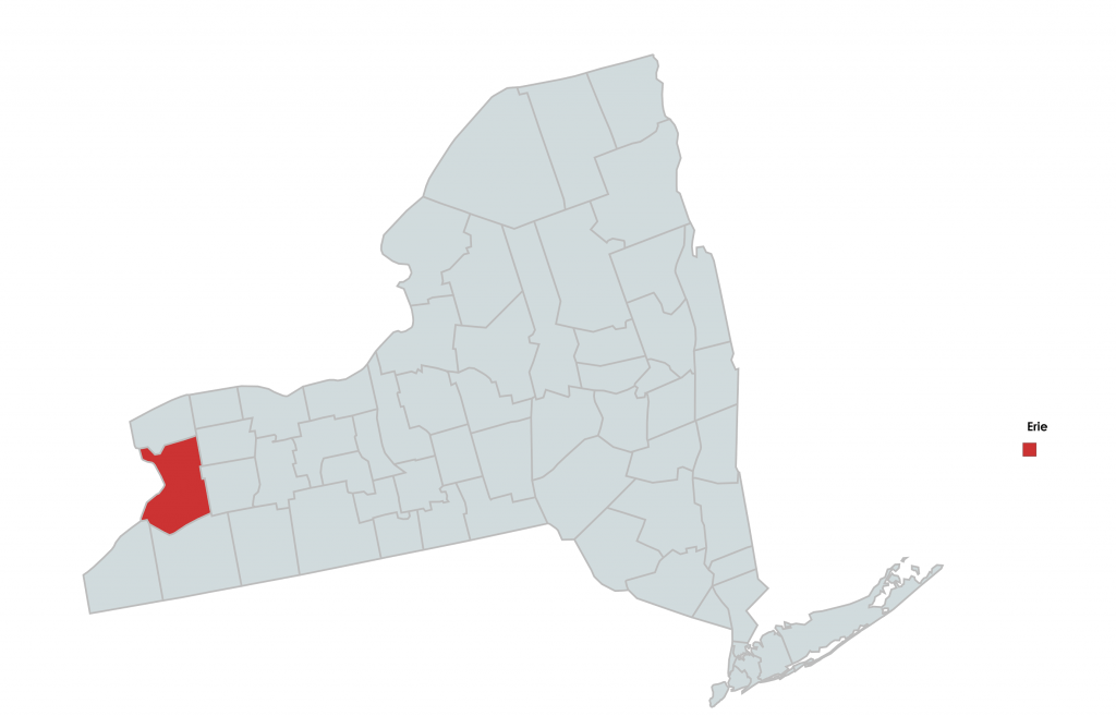Map of New York Counties Highlighting Erie