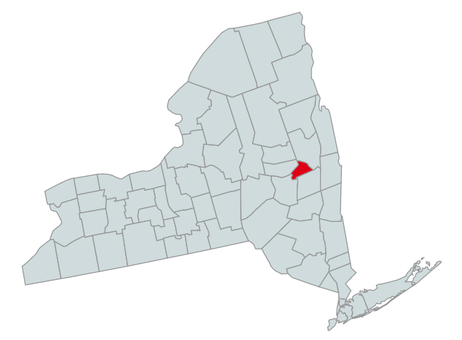 Map of New York Counties Highlighting Schenectady