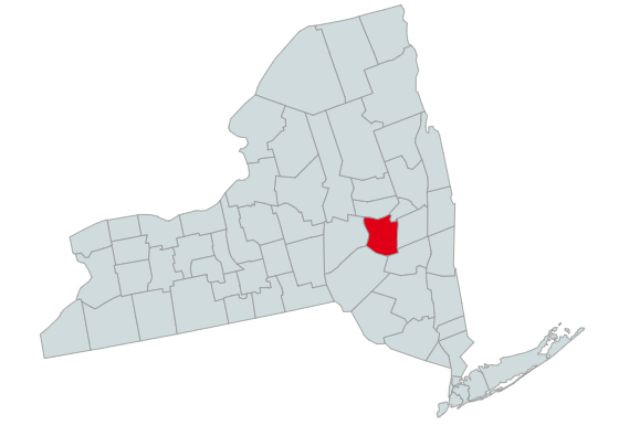 Map of New York Counties Highlighting Schoharie