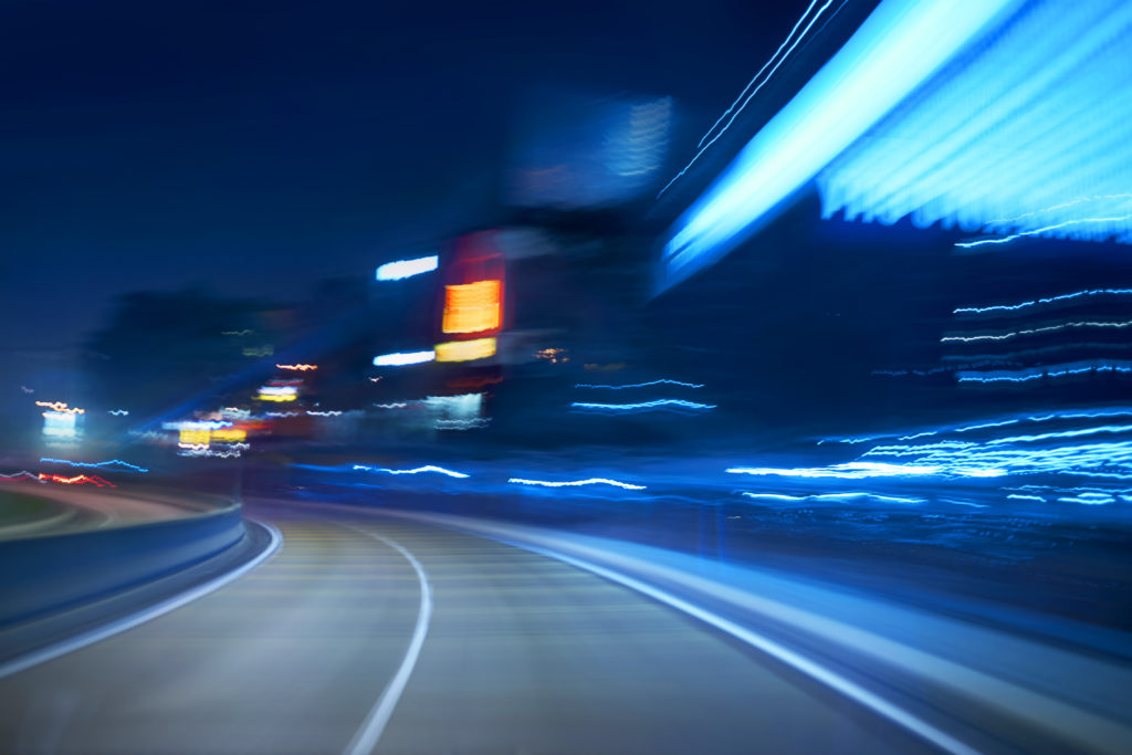 moving forward motion blur background, night scene